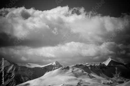 Black and white mountain landscape. Alps  summits