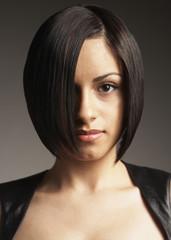 Hispanic woman with bob hairstyle