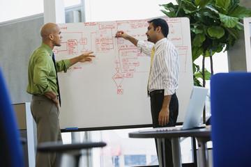 Multi-ethnic businessmen writing on whiteboard in office