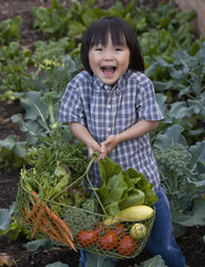Asian boy carrying basket of garden vegetables
