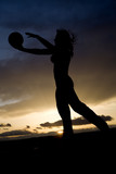 silhouette woman beach volleyball