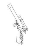 illustration of telescope and manikin poster