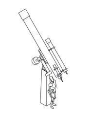 illustration of telescope and manikin