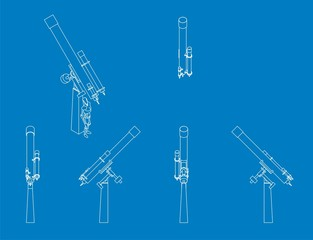 blue print style illustration of a refractor telescope