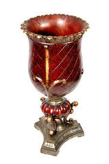 Traditional Ornate Red Glass and Brass Piller Candle Holder