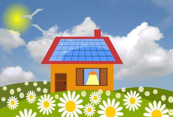 casetta in campagna con pannelli solari