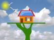 casetta con pannelli solari