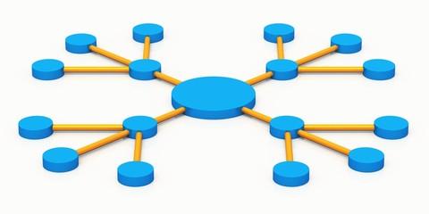 Soziales Netzwerk - Marketing - blau orange