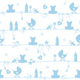 Seamless Pattern Baby Symbols Boy