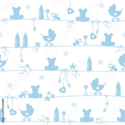 Seamless Pattern Baby Symbols Boy - 22310819