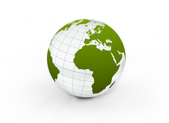 Green glass globe environmental earth