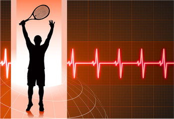 Tennis Player with Abstract Pulse Red Background