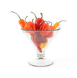 Chili hot peppers in a large glass