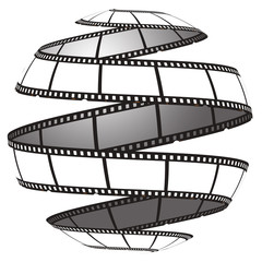 Film strip in a sphere/globe
