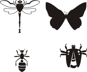 Lady-bug, dragonfly, ant, butterfly