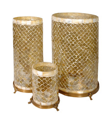 Set of Gold Plated Wire Mesh Candle Holders