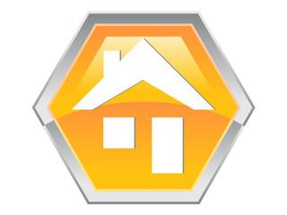 Hexagon House Logo Design Icon