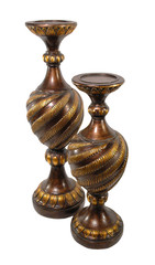 Antique wood and gold swirled Candle Holder Vase