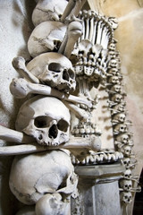 Kutna Hora, Kostnice - Bone Church, Scary Human Skulls and Bones