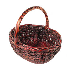Brown wicker bread basket with rattan handle