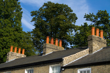 Row of chimneys in a country village