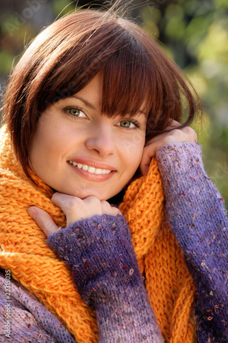Autumnal woman wearing scarf