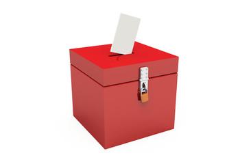 3D - Blanko Wahlurne Rot 02 - Abgeschlossen