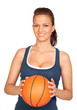 Attractive girl with basketball