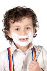 Adorable child shaving