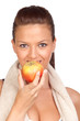 Gymnastics girl eating apple