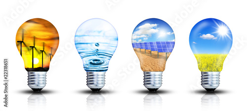 Leinwandbild Motiv Ideensammlung - Erneuerbare Energien