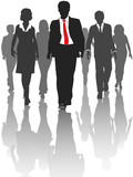 Business silhouette people walk human resources poster