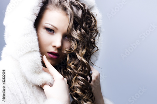 beautiful lady in fur coat