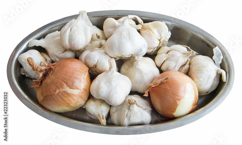 Garlic and Onions on silver tray.