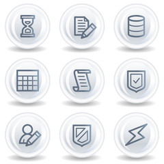Database web icons,white glossy circle buttons