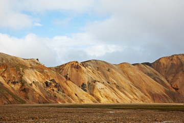 Multicolored rhyolite mountains in Landmannalaugar