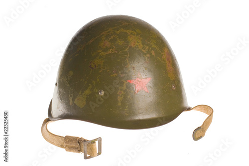 Soviet army helmet world war isolated with clipboard.