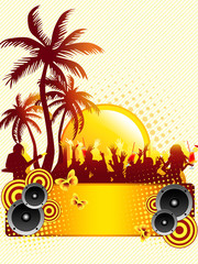 Summer disco party flyer with palms