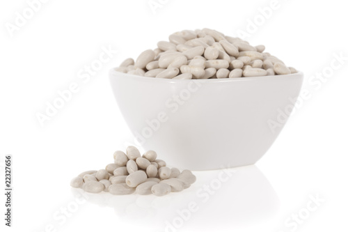 Cannellini beans or Haricot in a bowl isolated on a white