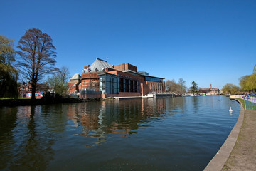 River view to the RSC Theatre Stratford Upon Avon