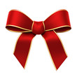 Red silk ribbon with golden edges