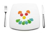 gelatine alla frutta su piatto bianco poster