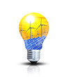 Winkraft und Solar in einer Glühbirne