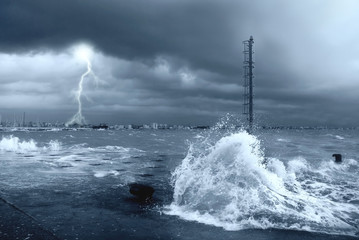 stormy sea with lightning and big waves