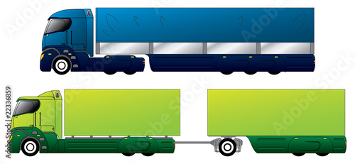Aerodynamic trucks with trailers
