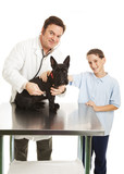 Vet and Child with Dog poster