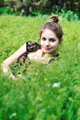 tender teen in grass
