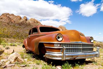 Abondoned rusty classic car
