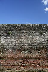 brick wall blue sky background