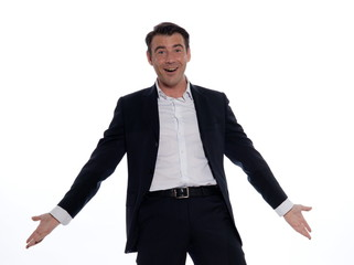 studio portrait on white background of a happy hansdsome man